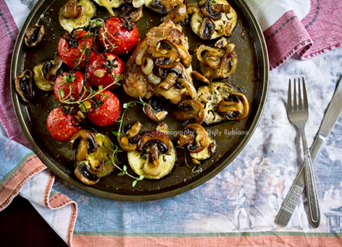 Roasted chicken, vine tomatoes and eggplant with caramelized onions and mushrooms