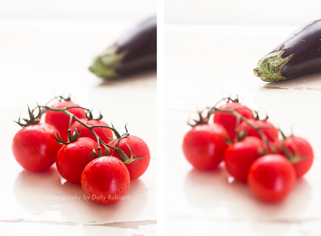 Vine tomatoes and eggplant