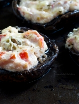 Baked mushrooms with herbed tomatoes and sour cream