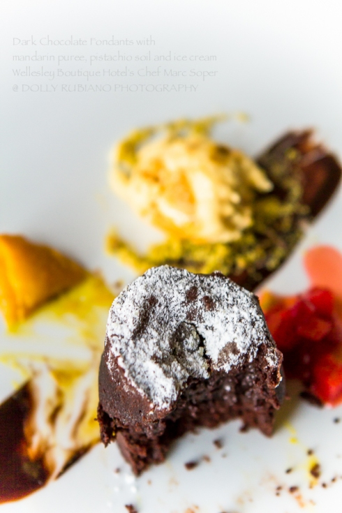 Dark Chocolate Fondants with mandarin puree and pistachio soil by Wellesley Boutique Hotel Chef Marc Soper