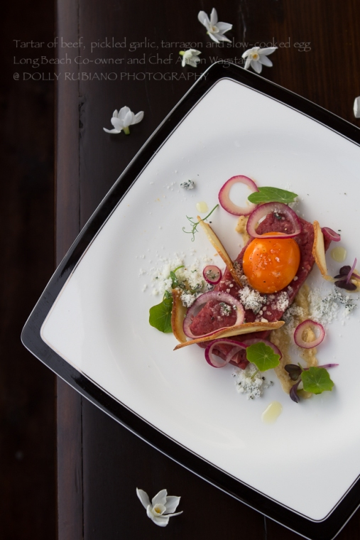 Tartar of beef, pickled garlic, tarragon and slow-cooked egg by Long Beach Co-owner and Chef Aaron Wagstaff