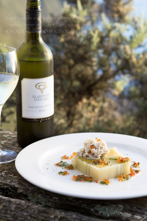Kapiti paddle crab with leek terrine and lemon dressing by Capitol Owner and Chef Tom Hutchison