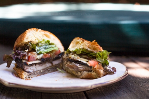 Portobello mushroom burger with caramelized onions