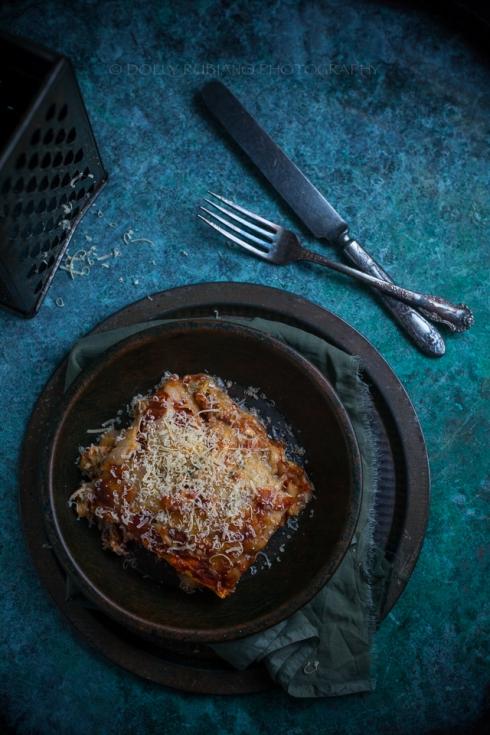 Gooey eggplant lasagna with chickpea polenta