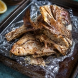 Oven-grilled fish head