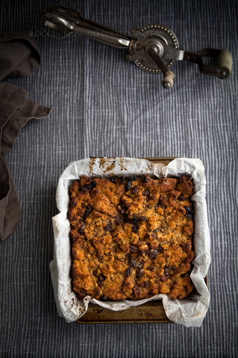 Bread pudding with raisins