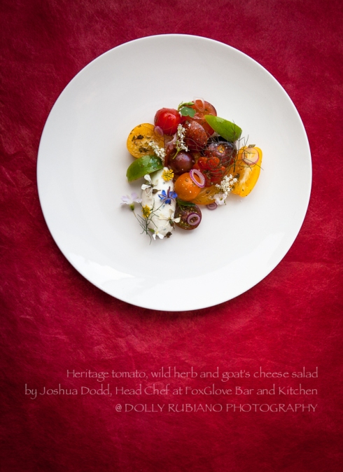 Joshua Dodd's heritage tomato, wild herb and goat's cheese salad
