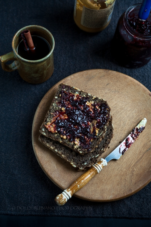 Plum and prune jam on toast rye bread