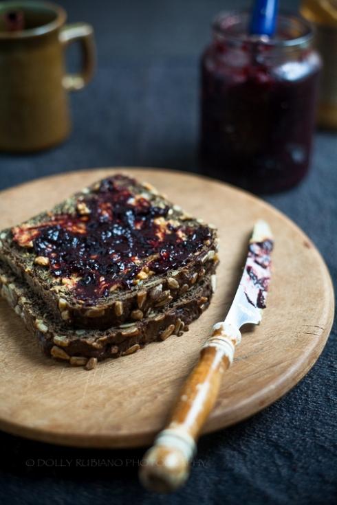 Plum and prune jam on toast rye bread