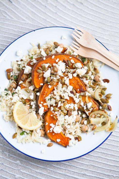 Roasted pumpkin, feta and orzo salad