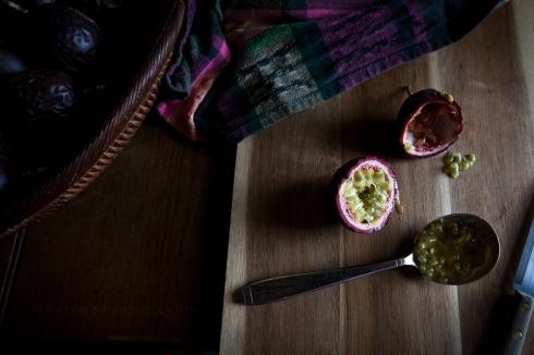 Sliced passion fruit
