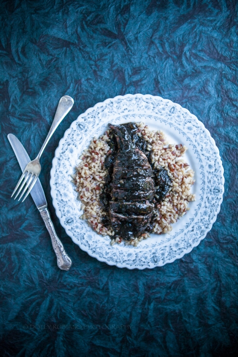 Stuffed squid in black ink sauce