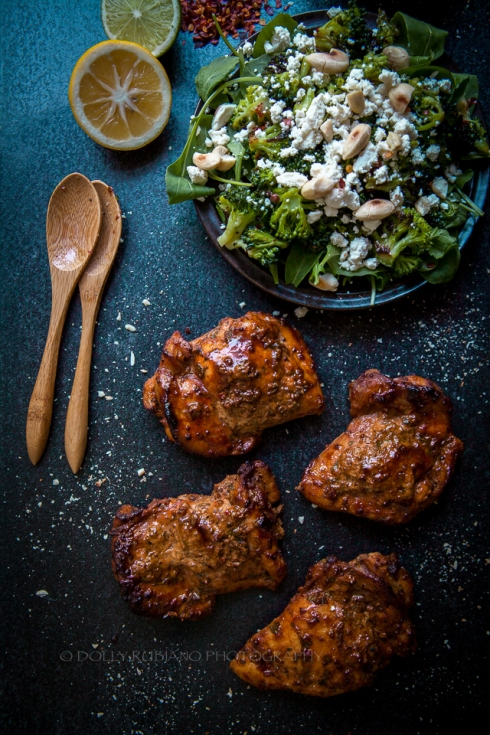 Delaney's spiced chicken thighs with a roast broccoli salad