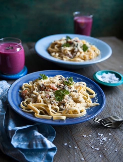 Seafood pasta with fennel and leek cream sauce