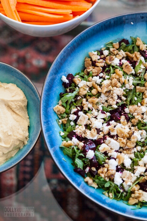 Akvilina's beetroot walnut and goat cheese salad
